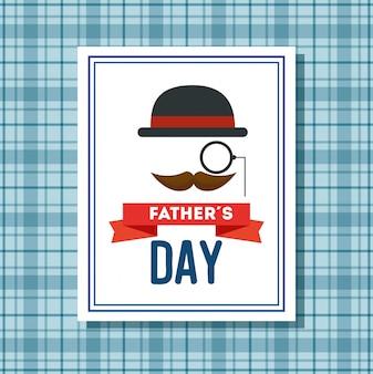 Tarjeta del día de padres feliz con bigote y elegante sombrero