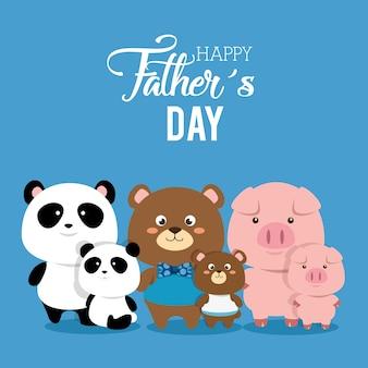 Tarjeta del día de padres feliz con familia de animales