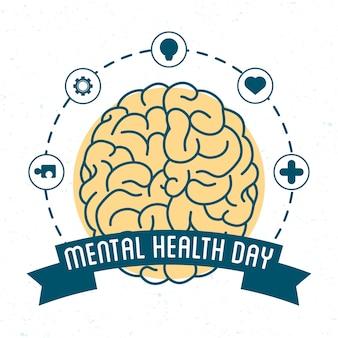 Tarjeta del día de la salud mental con cerebro y establecer iconos alrededor