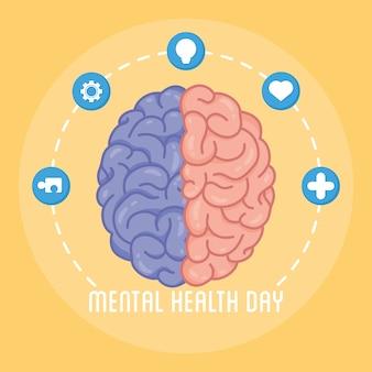 Tarjeta del día de la salud mental con cerebro humano y establecer iconos alrededor