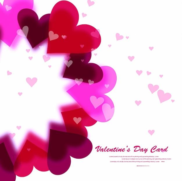 Tarjeta de día de san valentín abstracta hermosa corazones de colores de fondo