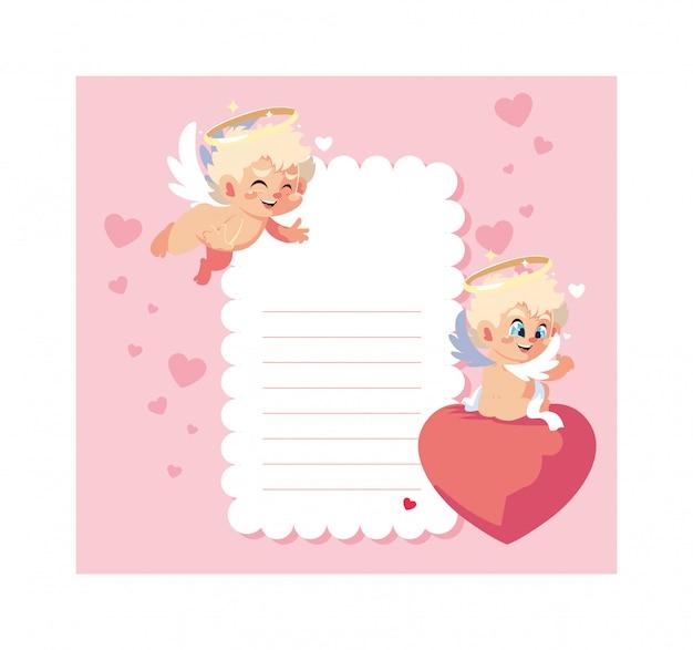 Tarjeta del día de san valentín con ángeles de cupido, hoja para escribir
