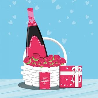 Tarjeta del día de san valentín con botella de vino y canasta