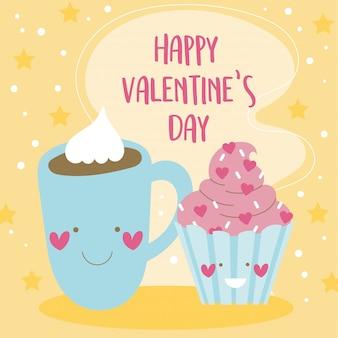 Tarjeta del día de san valentín con chocolate y cupcake kawaii