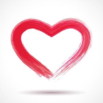 Tarjeta del día de san valentín con corazón pintado