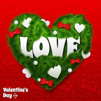 Tarjeta del día de san valentín con corazón verde de ramas de abeto, arcos de cinta y adornos aislados ilustración vectorial