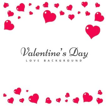 Tarjeta del día de san valentín con corazones de color rosa