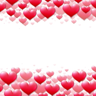 Tarjeta del día de san valentín con corazones púrpuras dispersos en la parte superior e inferior