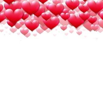 Tarjeta del día de san valentín con corazones púrpuras dispersos