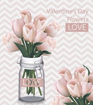 Tarjeta de día de san valentín dulce con flores de tulipán vector realista. fondos retro