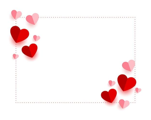 Tarjeta del día de san valentín estilo corazones de papel
