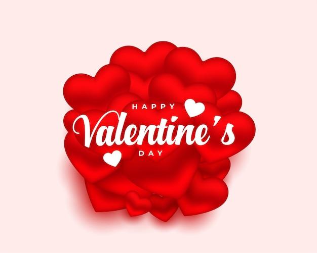 Tarjeta del día de san valentín con fondo de diseño de corazones 3d