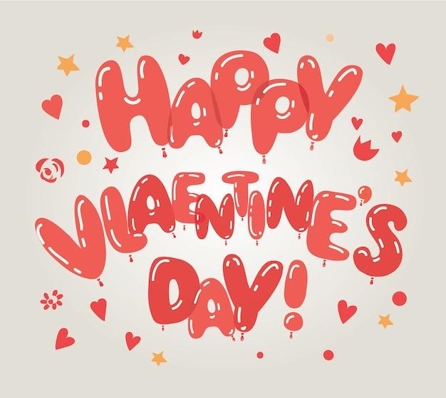 Tarjeta del día de san valentín de globos de corazón rojo. concepto de amor y día de san valentín.