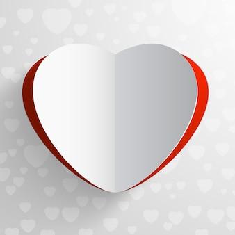 Tarjeta del día de san valentín de papel rojo y blanco en forma de corazón