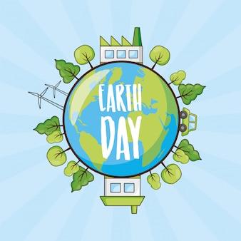 Tarjeta del día de la tierra, planeta con árboles y objetos de energía limpia, ilustración