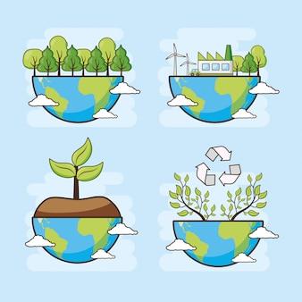 Tarjeta del día de la tierra, planeta con bosque y árboles, ilustración