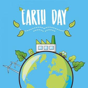 Tarjeta del día de la tierra, planeta con bosque, ilustración