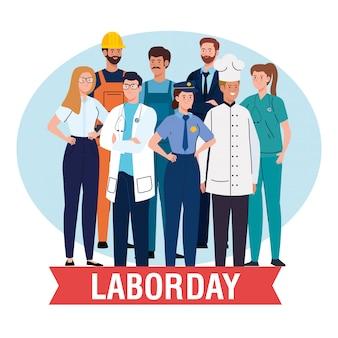 Tarjeta del día del trabajo con diseño de ilustración de vector de decoración de cinta y ocupación de grupo de personas diferentes
