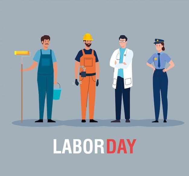 Tarjeta del día del trabajo, con personas de diferentes profesiones, diseño de ilustración vectorial
