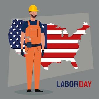 Tarjeta del día del trabajo, con trabajador de la construcción y mapa, diseño de ilustración vectorial de estados unidos