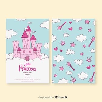 Tarjeta dibujada de cumpleaños de estilo princesa