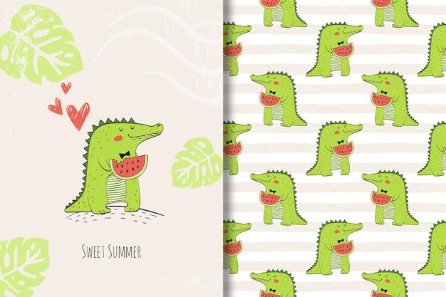 Tarjeta dibujada mano lindo cocodrilo y patrones sin fisuras