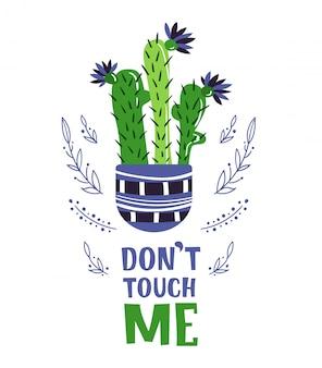 Tarjeta de dibujos animados con cactus en maceta casa