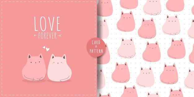 Tarjeta de dibujos animados lindo gatito gato gordito rosa y paquete de patrones sin fisuras