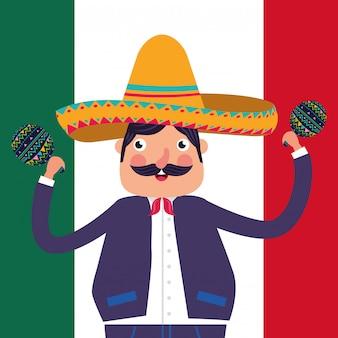 Tarjeta de dibujos animados de mexico