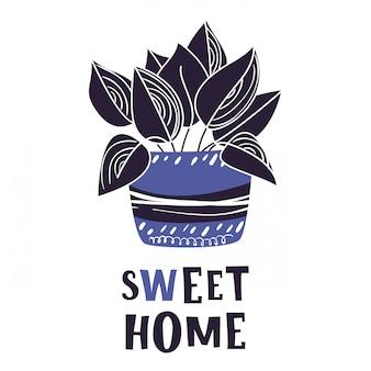 Tarjeta de dibujos animados con planta en maceta casa, flor, letras