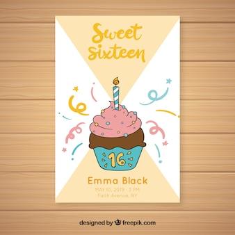 Tarjeta dieciséis cumpleaños cupcake dibujado a mano