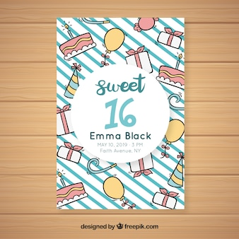 Tarjeta dieciséis cumpleaños garabatos