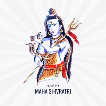 Tarjeta de dios hindú shiva para dios indio maha shivratri
