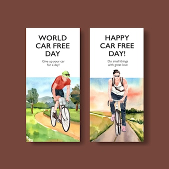 Tarjeta de diseño de concepto del día mundial sin automóviles