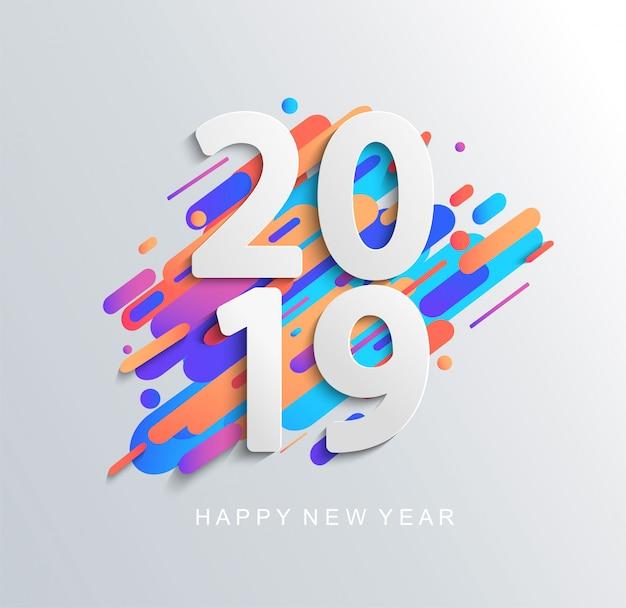 Tarjeta de diseño creativo año nuevo 2019.