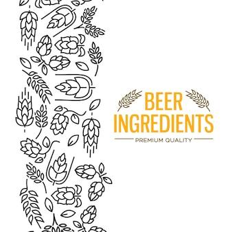 Tarjeta de diseño elegante con imágenes a la izquierda del texto amarillo ingredientes de cerveza de flores, ramita de lúpulo, flor, malta