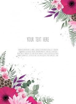 Tarjeta de diseño floral. saludo, plantilla de invitación de boda postal. elegante marco con rosa y anémona