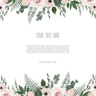 Tarjeta de diseño floral de vector.