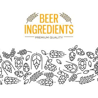 Tarjeta de diseño de ingredientes de cerveza con imágenes debajo del texto amarillo y repetición de flores, ramita de lúpulo, flor, malta