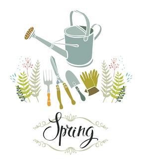 Tarjeta de diseño de jardinería de primavera