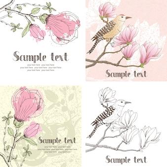 Tarjeta de diseño de magnolia y pájaro