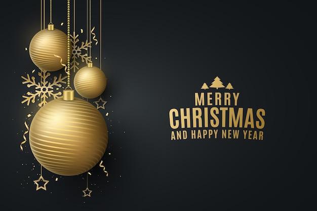 Tarjeta de diseño de navidad y año nuevo con adornos de bolas colgantes doradas, confeti, copos de nieve, estrellas. portada de celebración, plantilla, cartel de fiesta o volante. ilustración vectorial. eps 10