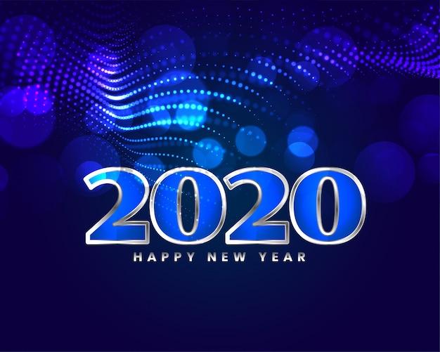 Tarjeta de diseño de saludo azul brillante feliz año nuevo