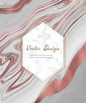 Tarjeta de diseño de tinta líquida gris con lámina de oro rosa con marco geométrico de mármol blanco.