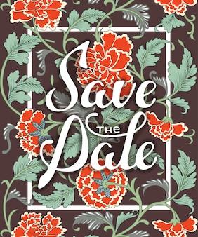 Tarjeta con diseño de tipografía y adornos florales.