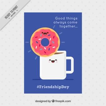 Tarjeta divertida de amistas con un simpático café y donut