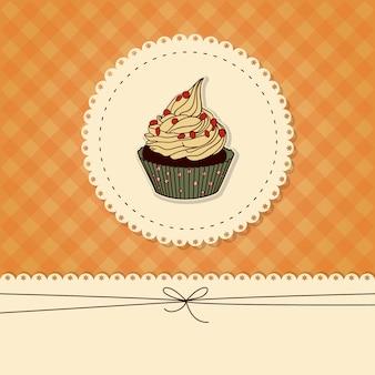 Tarjeta divertida, invitación con un cupcake y lugar para texto