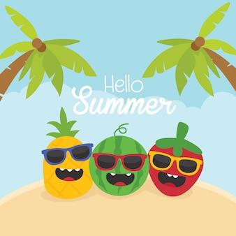 Tarjeta divertida de verano con lindos personajes de frutas.