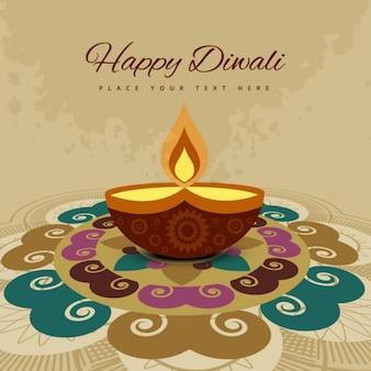 Tarjeta de diwali con ornamentos coloridos
