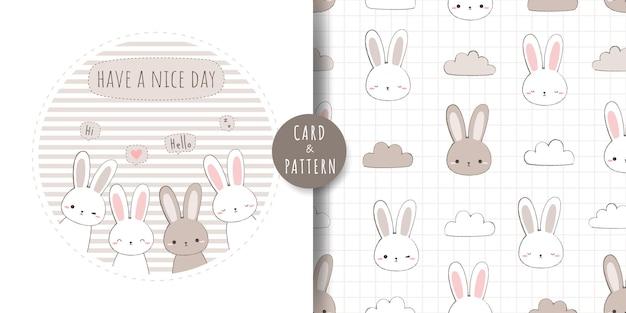 Tarjeta de doodle de dibujos animados lindo conejo conejito y paquete de patrones sin fisuras